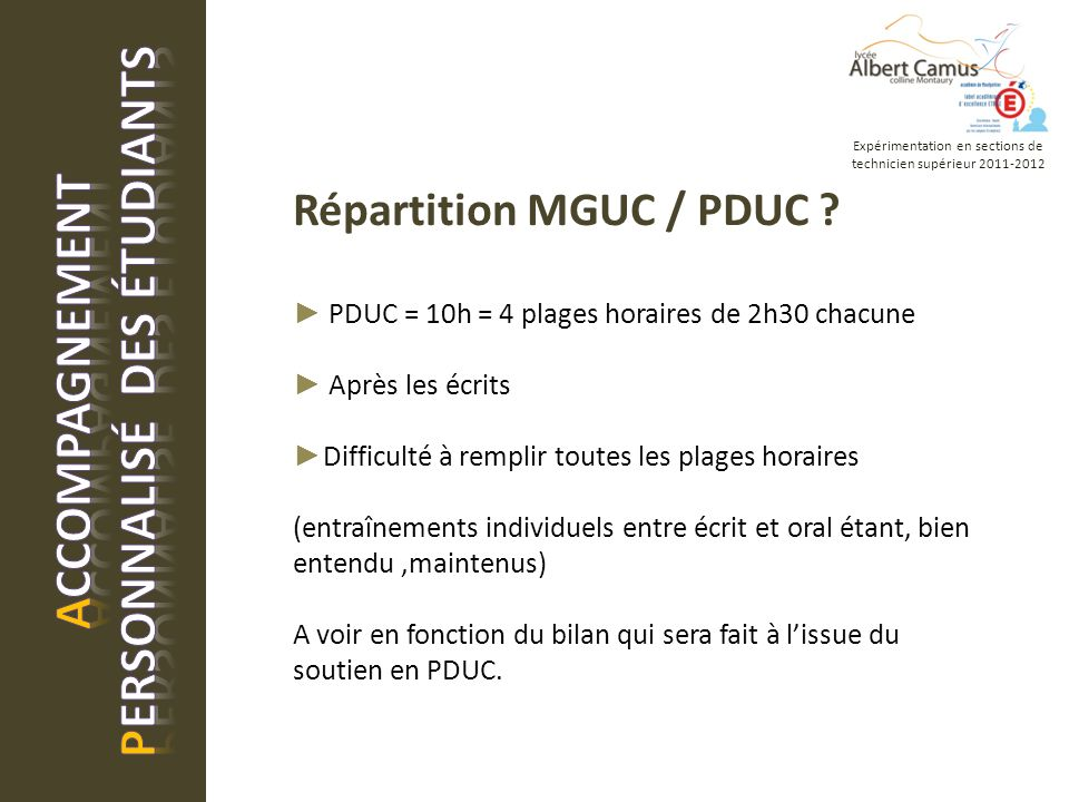 Répartition MGUC / PDUC .