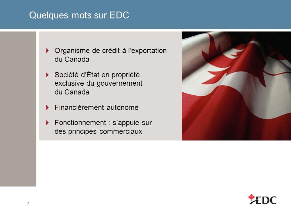 Quelques mots sur EDC Organisme de crédit à lexportation du Canada Société dÉtat en propriété exclusive du gouvernement du Canada Financièrement autonome Fonctionnement : sappuie sur des principes commerciaux 2