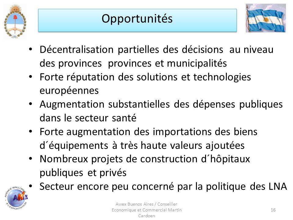 Awex Buenos Aires / Conseiller Economique et Commercial Martin Cardoen 16 Opportunités Décentralisation partielles des décisions au niveau des provinc