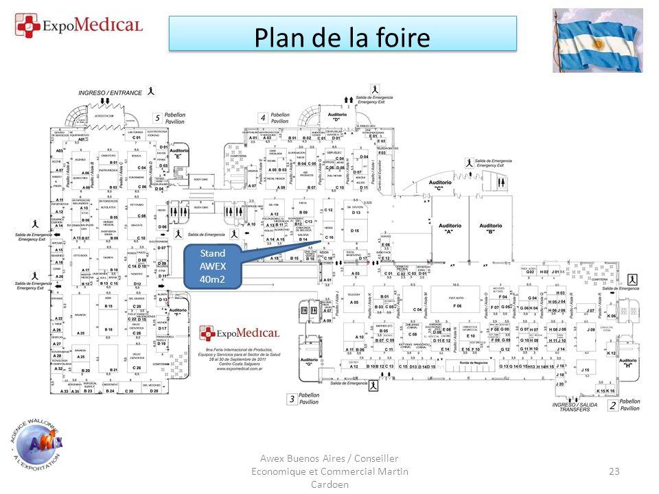 Awex Buenos Aires / Conseiller Economique et Commercial Martin Cardoen 23 Plan de la foire Stand AWEX 40m2