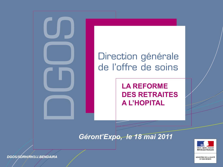 Direction générale de loffre de soin LA REFORME DES RETRAITES A LHOPITAL GérontExpo, le 18 mai 2011 DGOS/SDRH/RH3/J.BENDAIRA