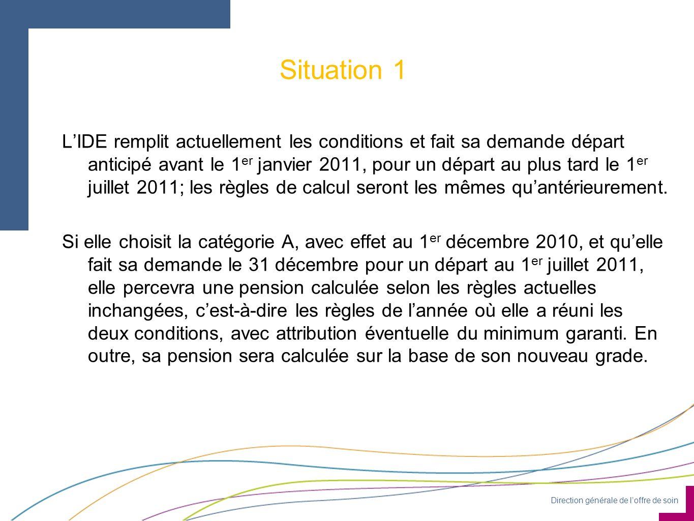 Direction générale de loffre de soin Situation 1 LIDE remplit actuellement les conditions et fait sa demande départ anticipé avant le 1 er janvier 2011, pour un départ au plus tard le 1 er juillet 2011; les règles de calcul seront les mêmes quantérieurement.