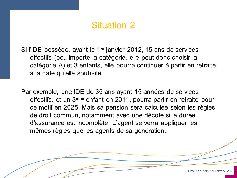 Direction générale de loffre de soin Situation 2 Si lIDE possède, avant le 1 er janvier 2012, 15 ans de services effectifs (peu importe la catégorie, elle peut donc choisir la catégorie A) et 3 enfants, elle pourra continuer à partir en retraite, à la date quelle souhaite.