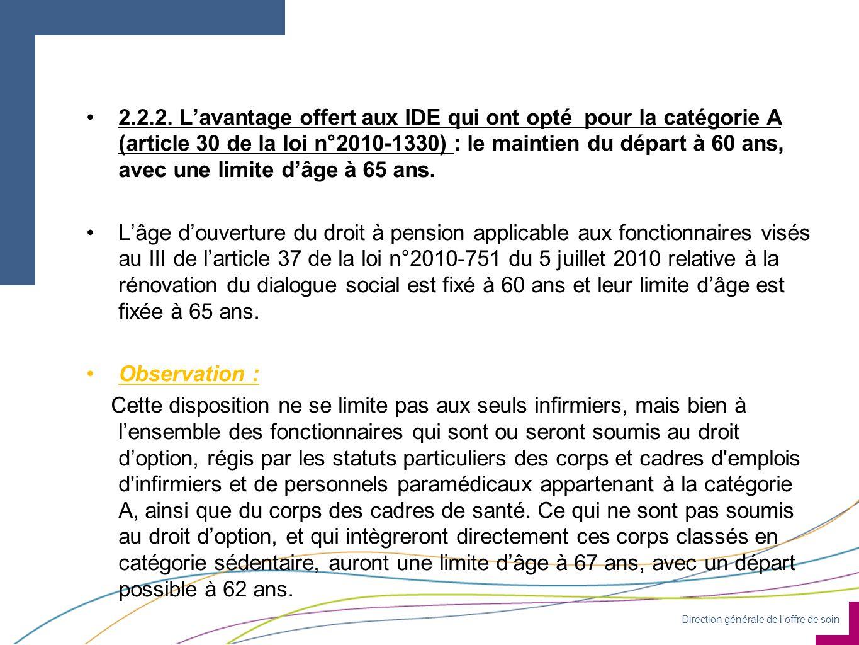 Direction générale de loffre de soin 2.2.2.