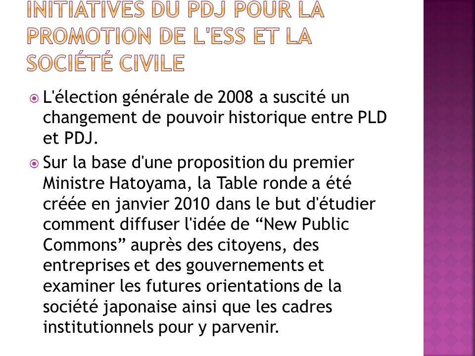 L'élection générale de 2008 a suscité un changement de pouvoir historique entre PLD et PDJ. Sur la base d'une proposition du premier Ministre Hatoyama