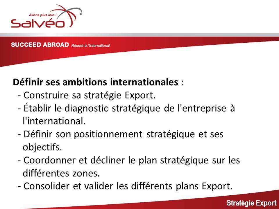 MISSION SECTORIELLE Stratégie Export Définir ses ambitions internationales : - Construire sa stratégie Export. - Établir le diagnostic stratégique de