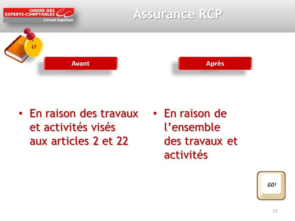 Assurance RCP En raison des travaux et activités visés aux articles 2 et 22 En raison des travaux et activités visés aux articles 2 et 22 En raison de