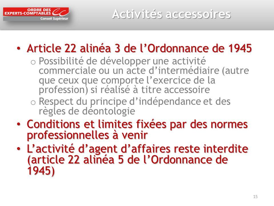 Activités accessoires Article 22 alinéa 3 de lOrdonnance de 1945 Article 22 alinéa 3 de lOrdonnance de 1945 o Possibilité de développer une activité c