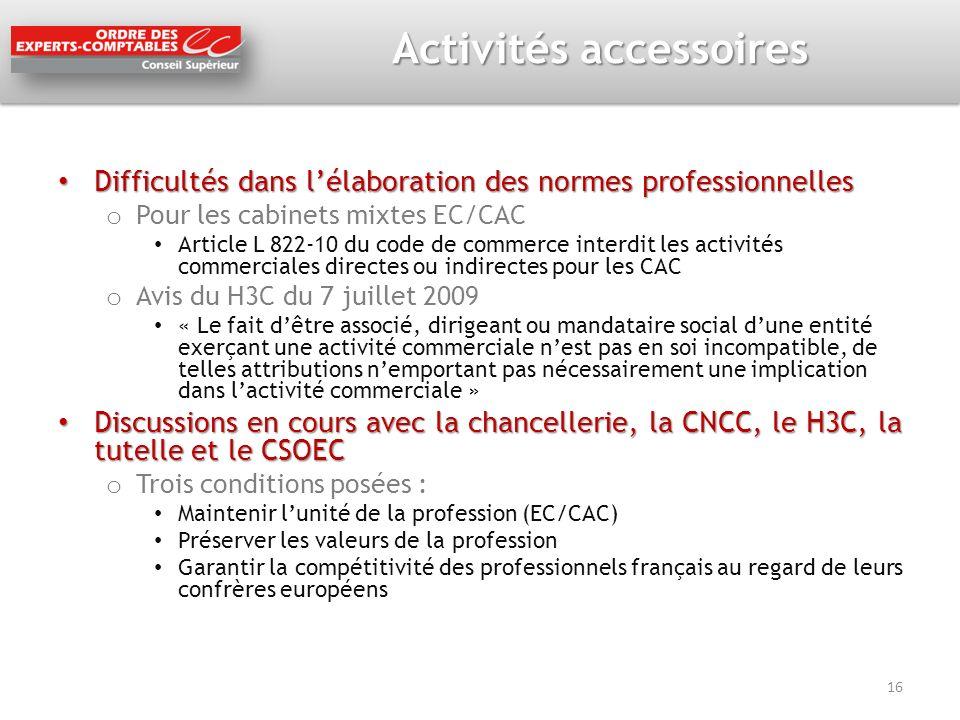 Activités accessoires Difficultés dans lélaboration des normes professionnelles Difficultés dans lélaboration des normes professionnelles o Pour les c
