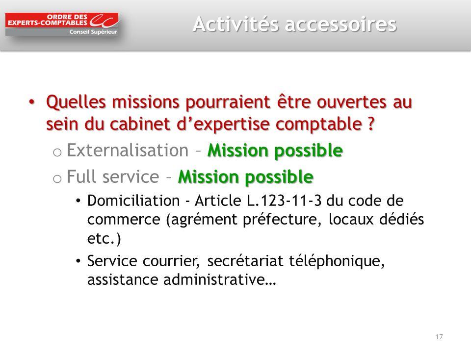 Activités accessoires Quelles missions pourraient être ouvertes au sein du cabinet dexpertise comptable ? Quelles missions pourraient être ouvertes au