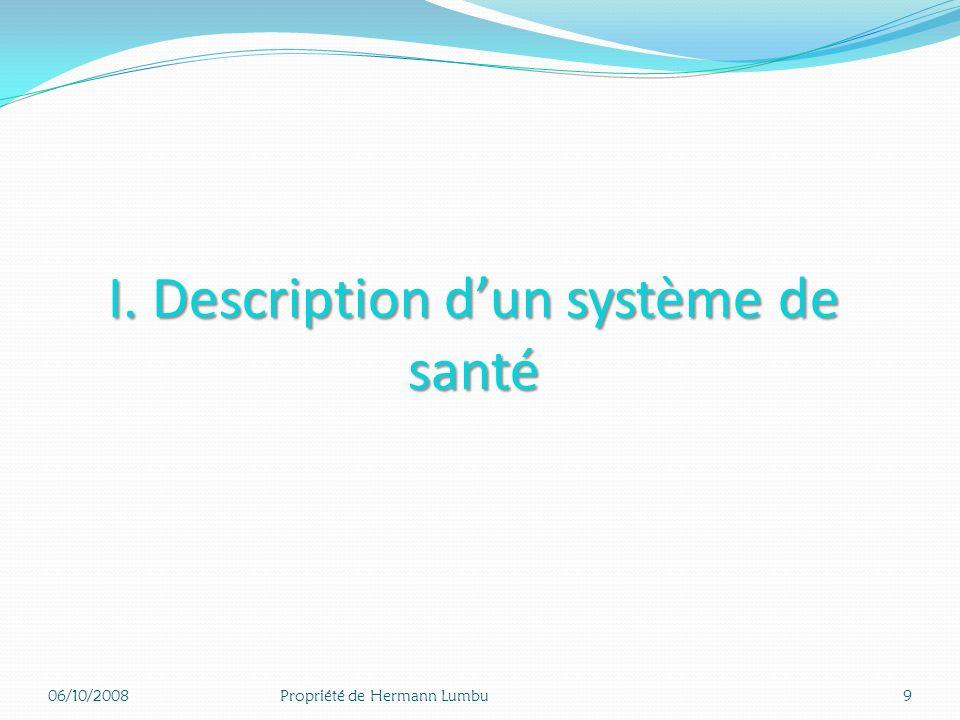 I. Description dun système de santé 06/10/20089Propriété de Hermann Lumbu