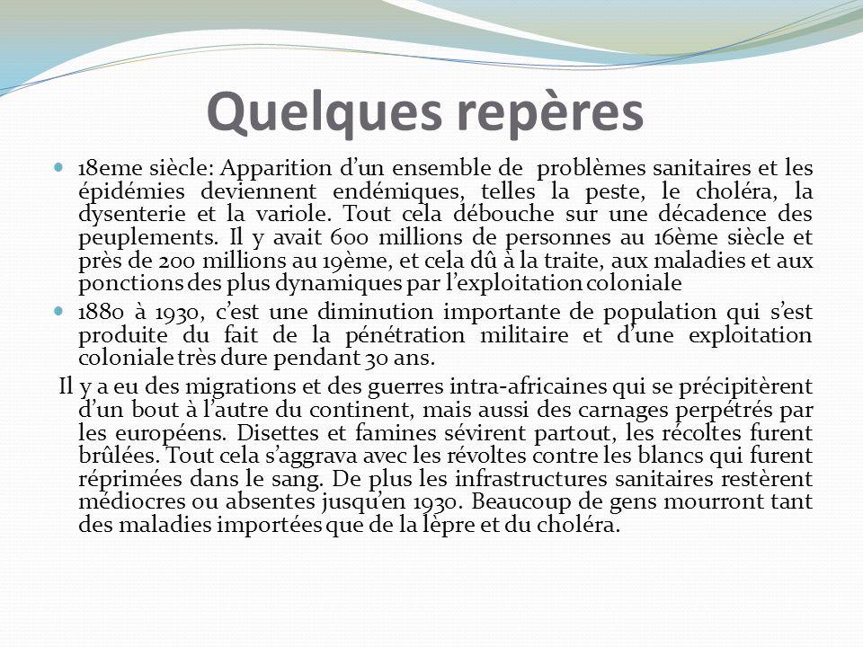 Quelques repères 18eme siècle: Apparition dun ensemble de problèmes sanitaires et les épidémies deviennent endémiques, telles la peste, le choléra, la