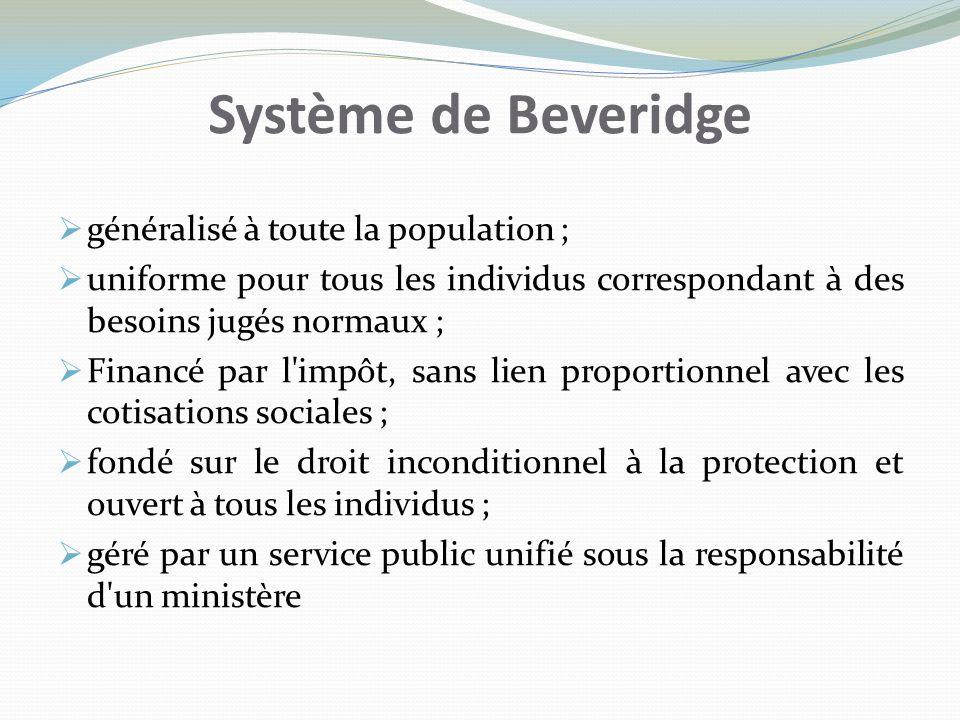 Système de Beveridge généralisé à toute la population ; uniforme pour tous les individus correspondant à des besoins jugés normaux ; Financé par l'imp