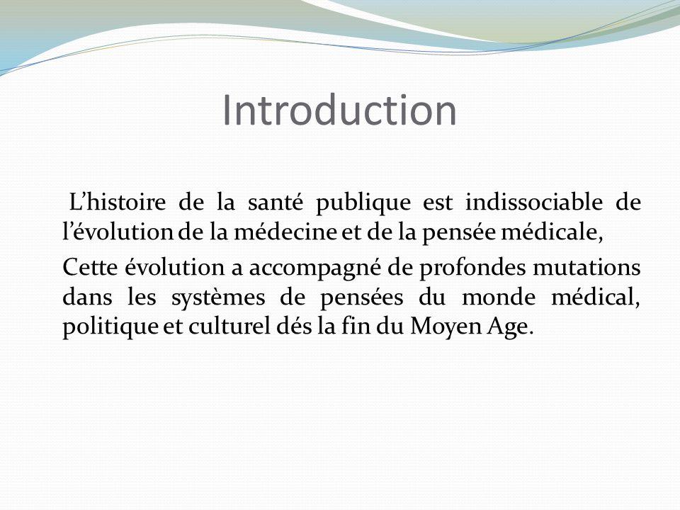 Introduction Lhistoire de la santé publique est indissociable de lévolution de la médecine et de la pensée médicale, Cette évolution a accompagné de p