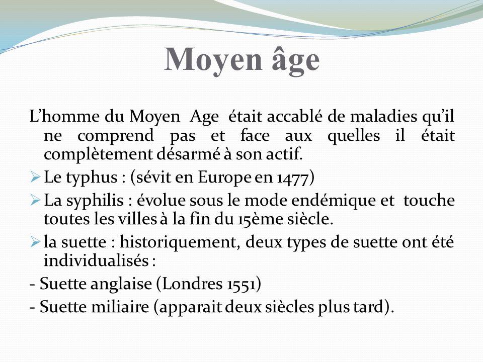 Moyen âge Lhomme du Moyen Age était accablé de maladies quil ne comprend pas et face aux quelles il était complètement désarmé à son actif. Le typhus