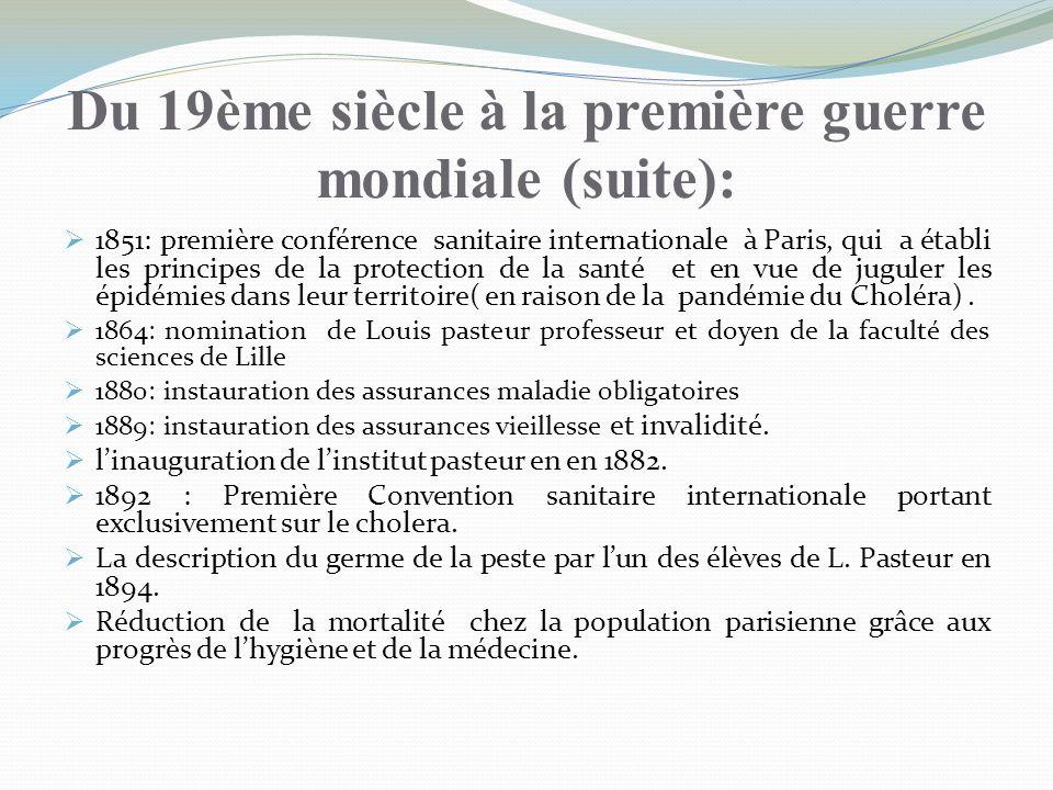 Du 19ème siècle à la première guerre mondiale (suite): 1851: première conférence sanitaire internationale à Paris, qui a établi les principes de la pr