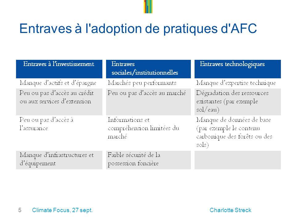 5 Entraves à l adoption de pratiques d AFC Climate Focus, 27 sept. Charlotte Streck