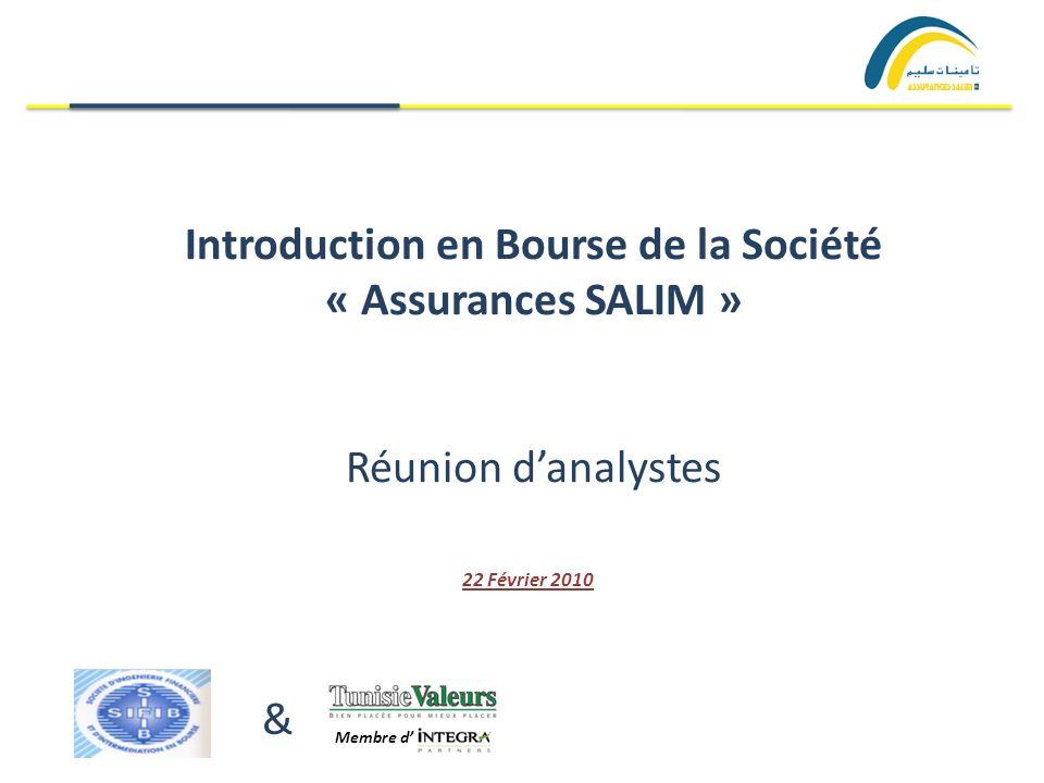 Introduction en Bourse de la Société « Assurances SALIM » Réunion danalystes 22 Février 2010 & Membre d