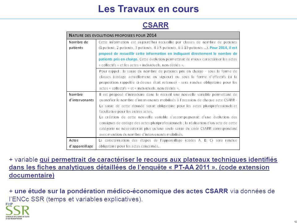 10 Les Travaux en cours CSARR + variable qui permettrait de caractériser le recours aux plateaux techniques identifiés dans les fiches analytiques détaillées de lenquête « PT-AA 2011 ».