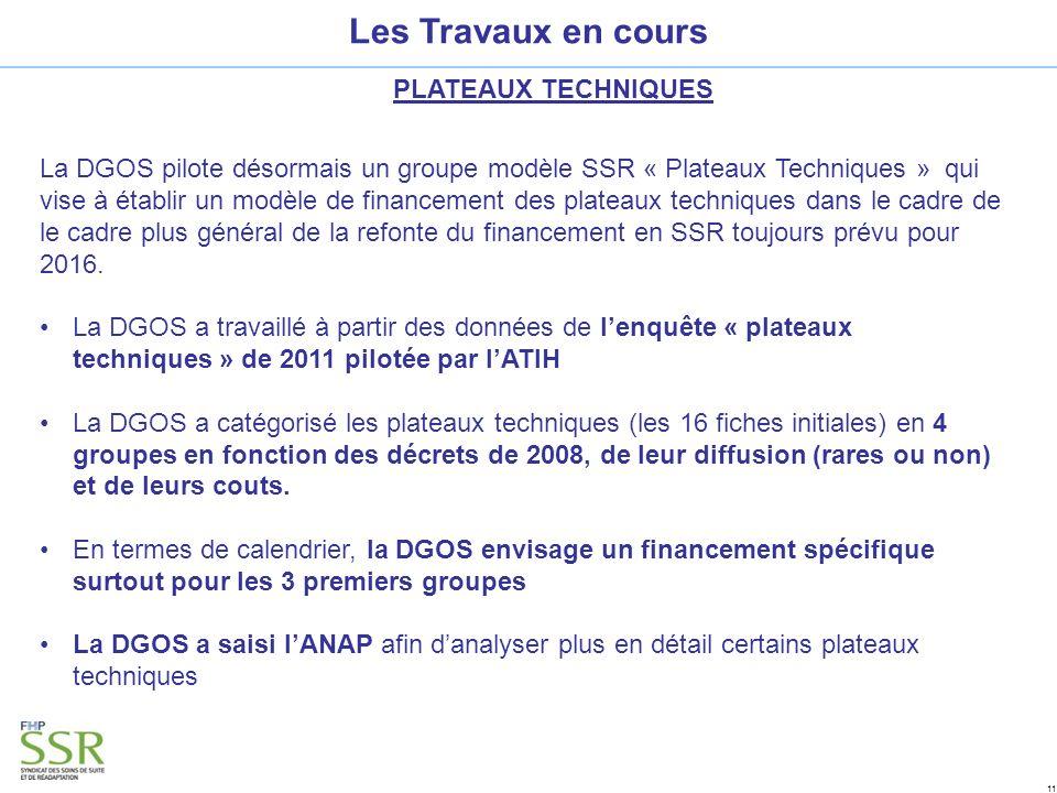 11 Les Travaux en cours PLATEAUX TECHNIQUES La DGOS pilote désormais un groupe modèle SSR « Plateaux Techniques » qui vise à établir un modèle de financement des plateaux techniques dans le cadre de le cadre plus général de la refonte du financement en SSR toujours prévu pour 2016.