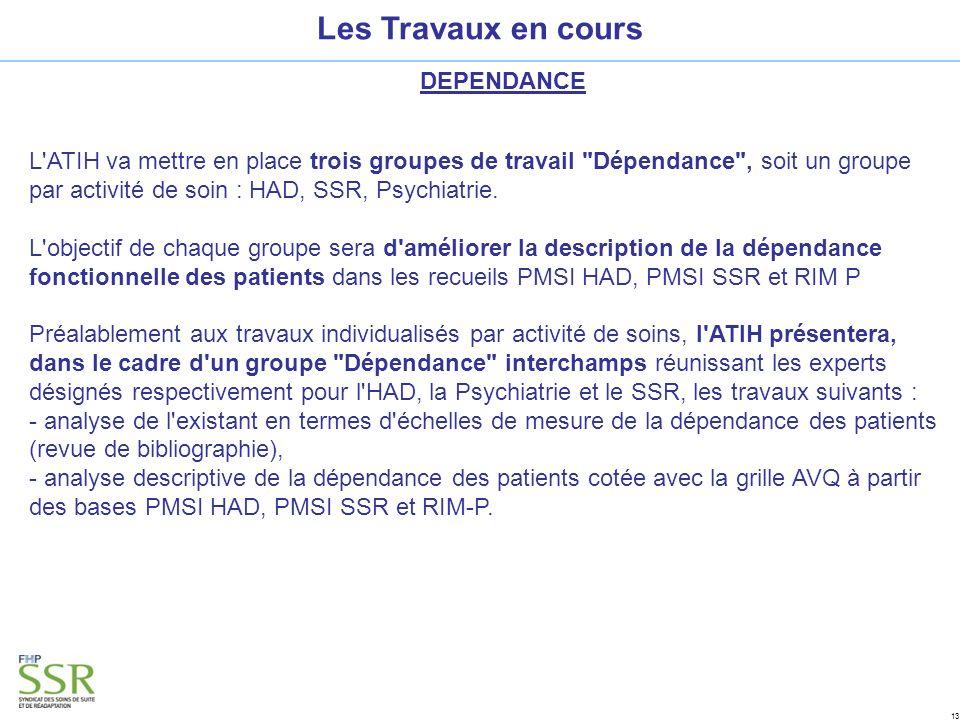 13 Les Travaux en cours DEPENDANCE L ATIH va mettre en place trois groupes de travail Dépendance , soit un groupe par activité de soin : HAD, SSR, Psychiatrie.
