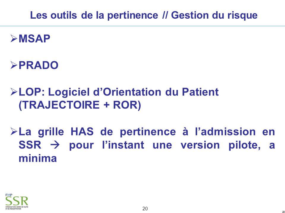 20 Les outils de la pertinence // Gestion du risque MSAP PRADO LOP: Logiciel dOrientation du Patient (TRAJECTOIRE + ROR) La grille HAS de pertinence à