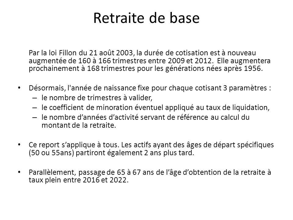 Retraite de base Par la loi Fillon du 21 août 2003, la durée de cotisation est à nouveau augmentée de 160 à 166 trimestres entre 2009 et 2012.