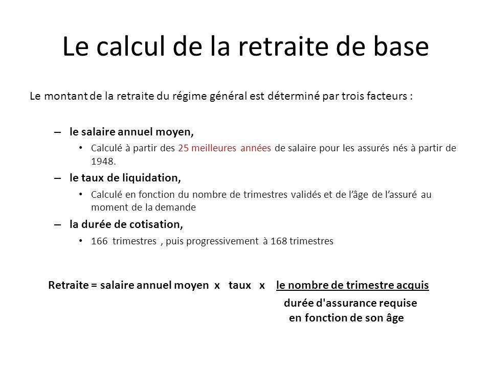 Le calcul de la retraite de base Le montant de la retraite du régime général est déterminé par trois facteurs : – le salaire annuel moyen, Calculé à partir des 25 meilleures années de salaire pour les assurés nés à partir de 1948.