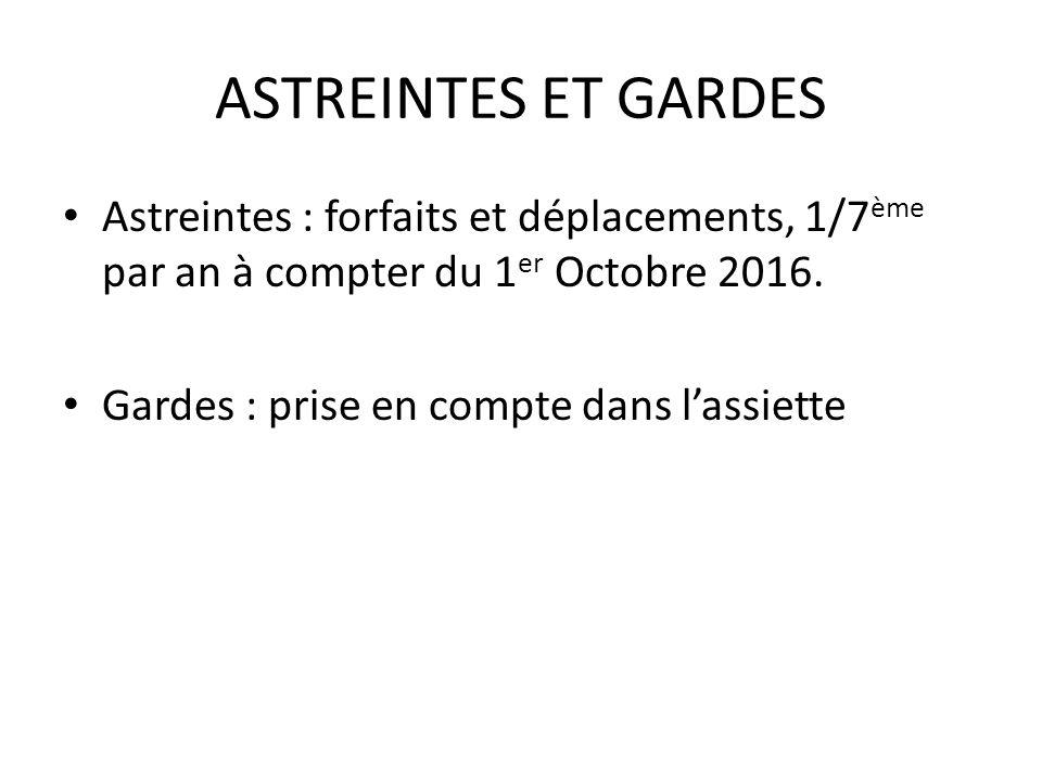 ASTREINTES ET GARDES Astreintes : forfaits et déplacements, 1/7 ème par an à compter du 1 er Octobre 2016.