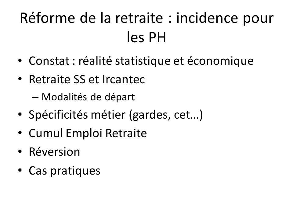 Réforme de la retraite : incidence pour les PH Constat : réalité statistique et économique Retraite SS et Ircantec – Modalités de départ Spécificités métier (gardes, cet…) Cumul Emploi Retraite Réversion Cas pratiques