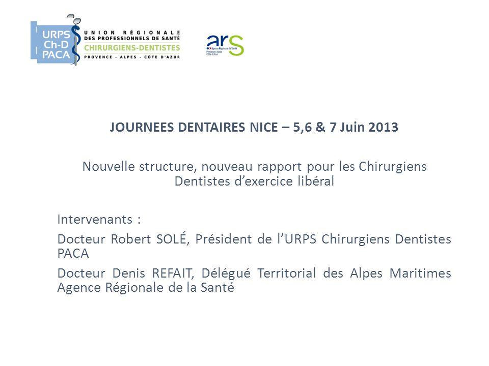 JOURNEES DENTAIRES NICE – 5,6 & 7 Juin 2013 Nouvelle structure, nouveau rapport pour les Chirurgiens Dentistes dexercice libéral Intervenants : Docteu