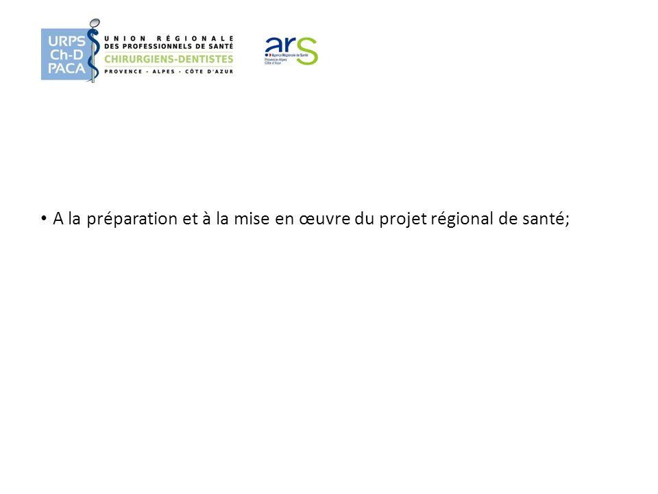 A la préparation et à la mise en œuvre du projet régional de santé;