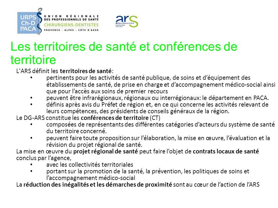 Les territoires de santé et conférences de territoire L'ARS définit les territoires de santé: pertinents pour les activités de santé publique, de soin