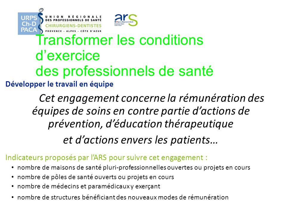 Transformer les conditions dexercice des professionnels de santé Développer le travail en équipe Cet engagement concerne la rémunération des équipes d