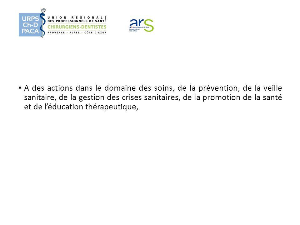 A des actions dans le domaine des soins, de la prévention, de la veille sanitaire, de la gestion des crises sanitaires, de la promotion de la santé et