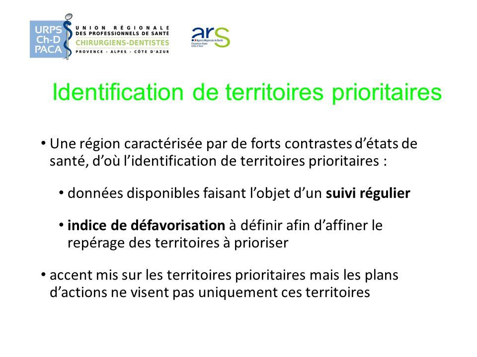 Identification de territoires prioritaires Une région caractérisée par de forts contrastes détats de santé, doù lidentification de territoires priorit