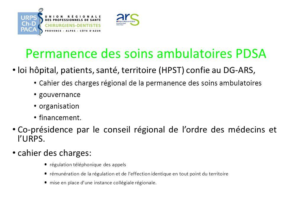 Permanence des soins ambulatoires PDSA loi hôpital, patients, santé, territoire (HPST) confie au DG-ARS, Cahier des charges régional de la permanence