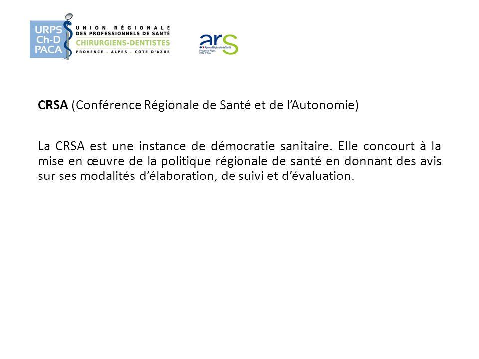 CRSA (Conférence Régionale de Santé et de lAutonomie) La CRSA est une instance de démocratie sanitaire. Elle concourt à la mise en œuvre de la politiq