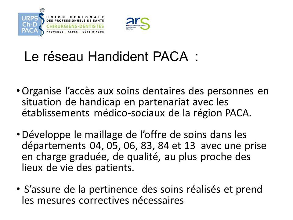 Le réseau Handident PACA : Organise laccès aux soins dentaires des personnes en situation de handicap en partenariat avec les établissements médico-so