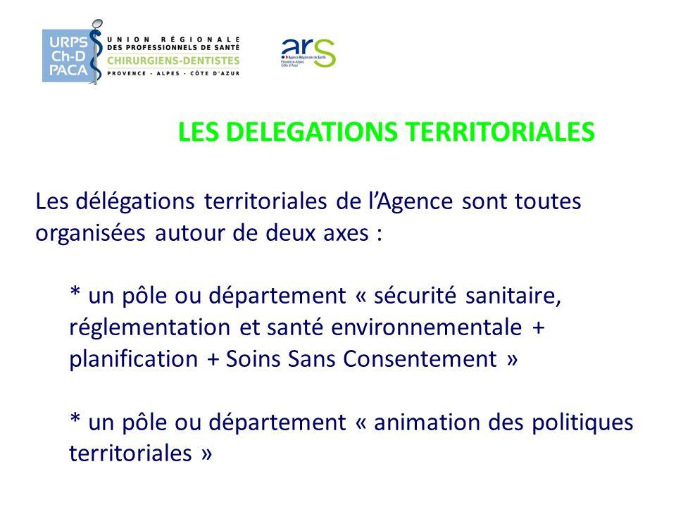 LES DELEGATIONS TERRITORIALES Les délégations territoriales de lAgence sont toutes organisées autour de deux axes : * un pôle ou département « sécurit