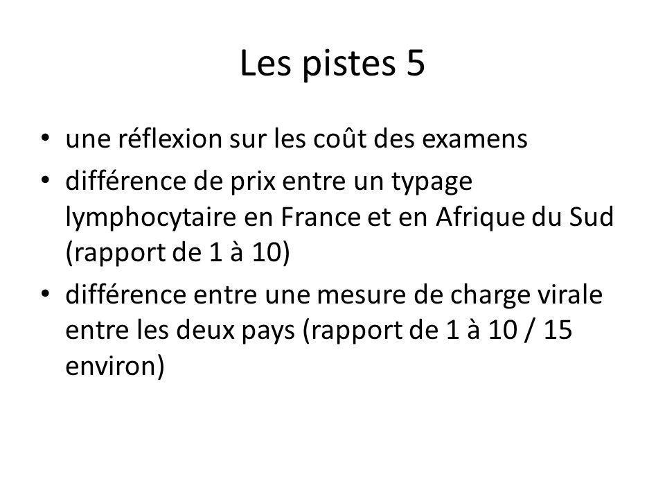 Les pistes 5 une réflexion sur les coût des examens différence de prix entre un typage lymphocytaire en France et en Afrique du Sud (rapport de 1 à 10) différence entre une mesure de charge virale entre les deux pays (rapport de 1 à 10 / 15 environ)