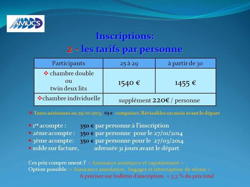 Inscriptions: 2 - les tarifs par personne Taxes aériennes au 29/10/2013, 65 comprises. Révisables un mois avant le départ 1 er acompte : 350 par perso