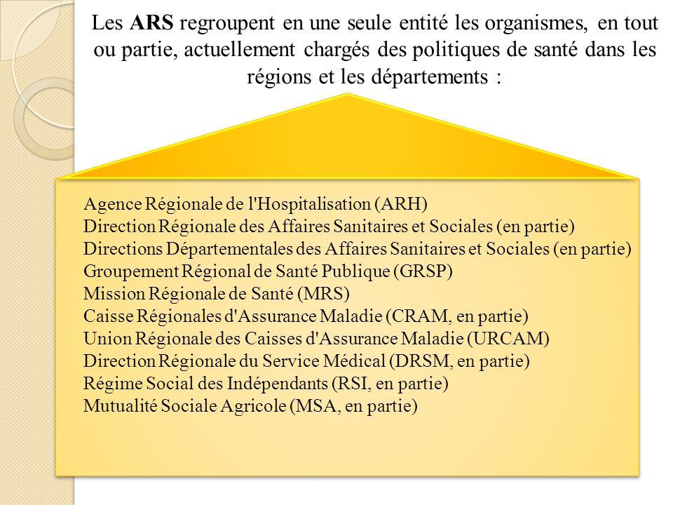 Les ARS regroupent en une seule entité les organismes, en tout ou partie, actuellement chargés des politiques de santé dans les régions et les départements : Agence Régionale de l Hospitalisation (ARH) Direction Régionale des Affaires Sanitaires et Sociales (en partie) Directions Départementales des Affaires Sanitaires et Sociales (en partie) Groupement Régional de Santé Publique (GRSP) Mission Régionale de Santé (MRS) Caisse Régionales d Assurance Maladie (CRAM, en partie) Union Régionale des Caisses d Assurance Maladie (URCAM) Direction Régionale du Service Médical (DRSM, en partie) Régime Social des Indépendants (RSI, en partie) Mutualité Sociale Agricole (MSA, en partie)