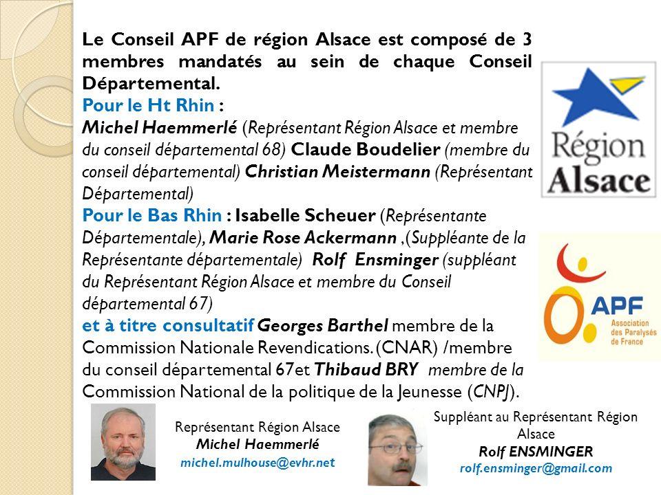 Le Conseil APF de région Alsace est composé de 3 membres mandatés au sein de chaque Conseil Départemental.