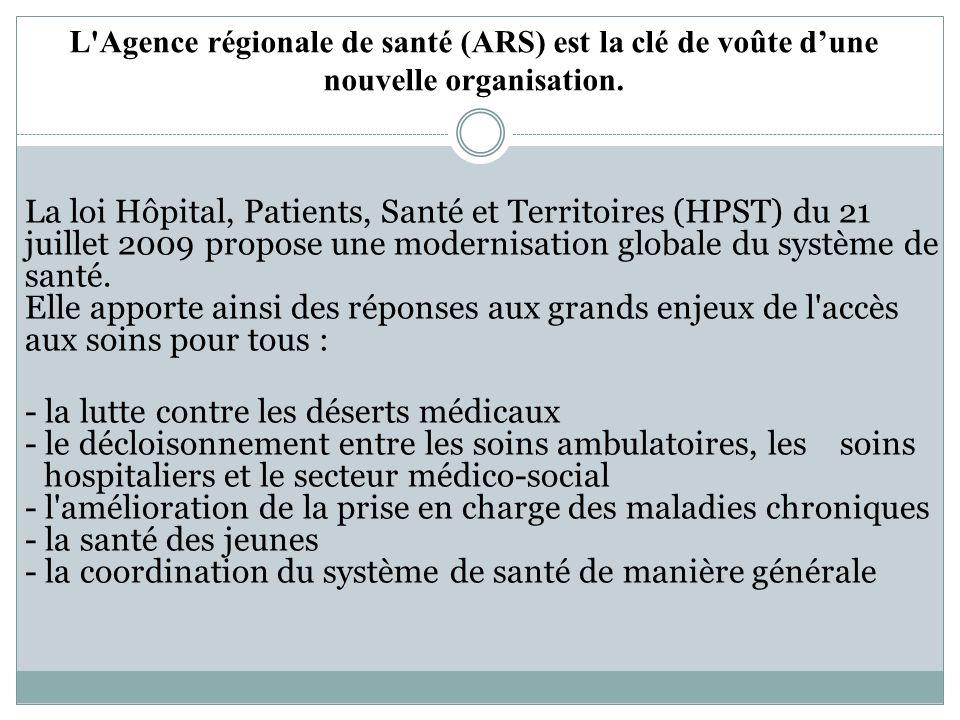 L Agence régionale de santé (ARS) est la clé de voûte dune nouvelle organisation.
