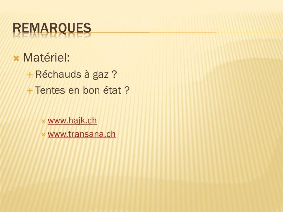 Matériel: Réchauds à gaz ? Tentes en bon état ? www.hajk.ch www.transana.ch