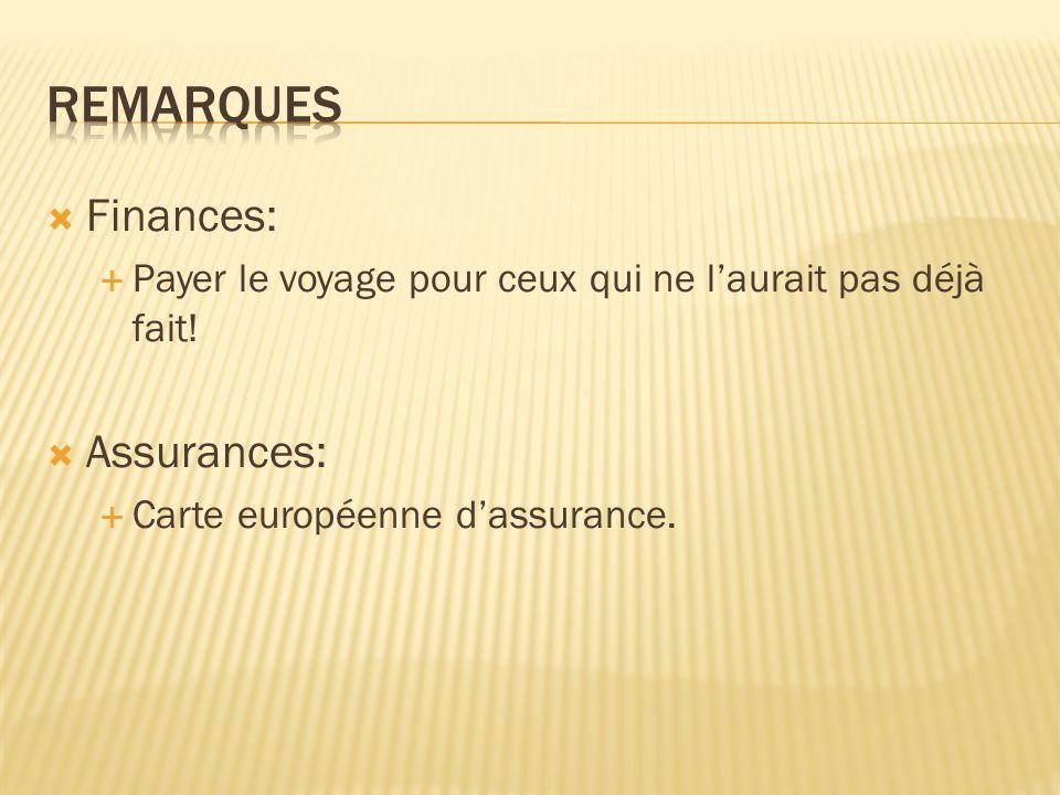 Finances: Payer le voyage pour ceux qui ne laurait pas déjà fait! Assurances: Carte européenne dassurance.