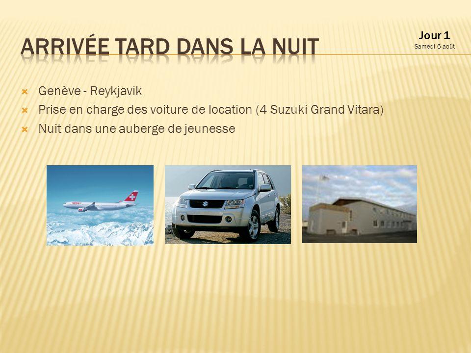 Genève - Reykjavik Prise en charge des voiture de location (4 Suzuki Grand Vitara) Nuit dans une auberge de jeunesse Jour 1 Samedi 6 août