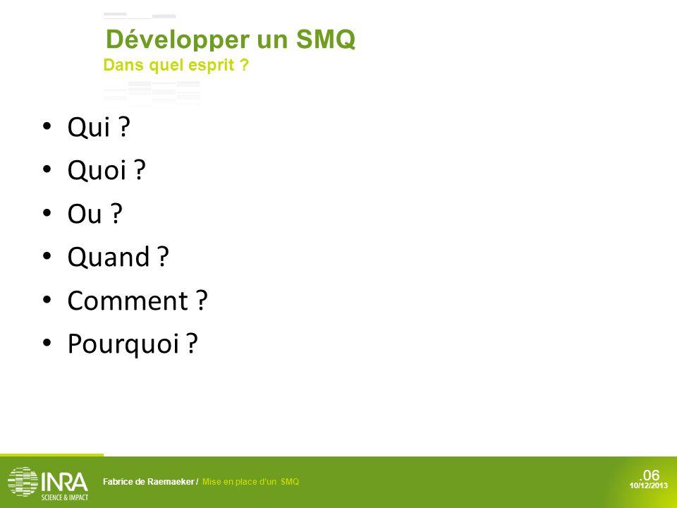 .06 Qui ? Quoi ? Ou ? Quand ? Comment ? Pourquoi ? Fabrice de Raemaeker / Mise en place dun SMQ 10/12/2013 Développer un SMQ Dans quel esprit ?