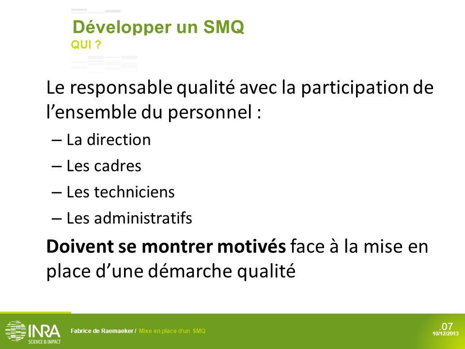.08 La mise en place dune démarche qualité EFFICACE et RECONNUE Au sein de lunité Fabrice de Raemaeker / Mise en place dun SMQ 10/12/2013 Développer un SMQ QUOI ?